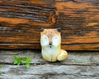 polymer clay fox , figurine