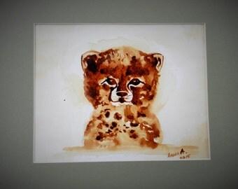 coffee painting, original art, baby cheetah painting,coffee art