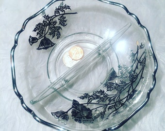 Vintage Silver-Painted Floral Candy/Nut Dish