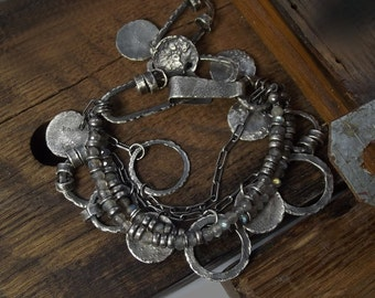 Raw sterling silver bracelets Labradorite bracelets - two bracelets set Oxidized Natural leather Rustic
