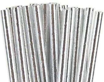 25ct. Silver Metallic Foil Paper Party Straws. Cake Pop Sticks. Drinking Straws. Party Supplies. Dessert Table. Baking Supplies.