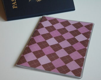 Pink Passport Cover, Pink and Brown Argyle Passport  Sleeve, Case, Holder