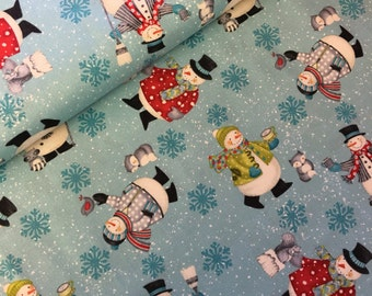 Christmas snowman - snowmen-  fabric - snowman fabric -  fabric - material - sewing -supply notion - christmas