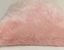 "Pink pillow/ Soft fuzzy light pink 18""x18""large pillow / pink pillow cover/ decorative throw / toss pillow cover"
