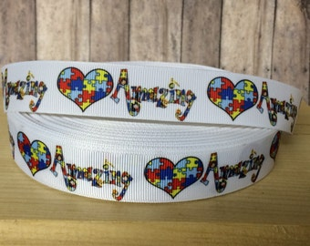"5 yards AUTISM AMAZING  inspired 1"" grosgrain ribbon- 79 cents a yard"