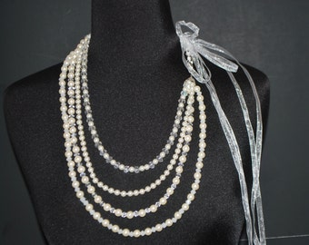 Custommade Multple Strands Cream Glass Pearls with Swarvoski Crystal Necklace