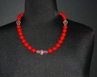 Red shell beads with crystal lampwork ascent beads women's beaded necklace.