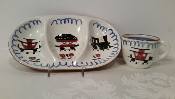 Stangl Kiddieware Mealtime Special Divided Dish and Cup #3829