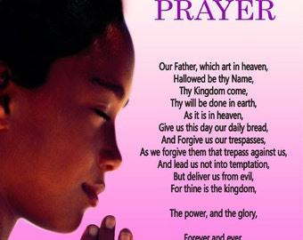 The Lord's Prayer for Girls 18x24 Wall Poster Scripture Prayer God Christian African American