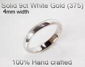9ct 375 Solid White Gold Ring Wedding Engagement Friendship Half Round Band 4mm