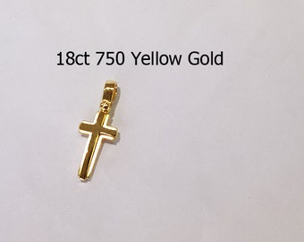 18ct 750 Solid Yellow Gold Crucifix Cross Pendant Jewellery  - PS82