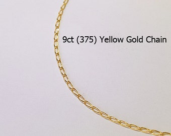 9ct 375 Solid Yellow Gold Curb Link Type Chain Necklace for Pendant Jewellery - HJ95