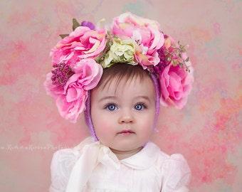 Newborn Flower Hat, Newborn Photo Prop, Flower Hat, Handmade Floral hat, Newborn Hat, Toddler Hat, Floral Hat, Floral Nest