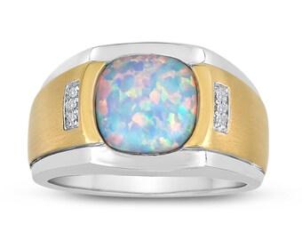 Opal Signet Ring. Fire Opal Ring. Silver Opal Signet Ring. Wide Opal Ring.  Men's Two Tone 10x10 Antique Cut Opal Ring in Sterling Silver