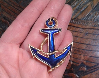 1950s-60s classic enamel style anchor brooch