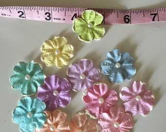 Set of 12 Pastel Paper Flower Embellishments, Card Making Flowers, Scrapbooking Flowers, Finishing Flowers