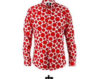 Dots Red Shirt Slim Fit Mens Clothing White Polka Menswear Mensfashion Shirts Dress Guys Oxford Cotton