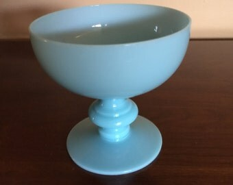 1 Portieux vallerysthal French blue opaline sherbert or dessert glass