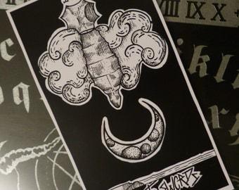 Illustration card anatomical Tarot.