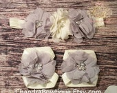 Gray and Ivory Chiffon Headband and Barefoot Sandal Set / Grey / Barefoot Sandals / Baby Headband / Baby Girl Headbands / Girls Hair Bows