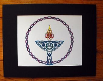 Unitarian Universalist Chalice Celtic Knot 11x14 watercolor print