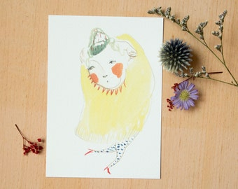 "Postcard ""I want to buy you flowers"" - 《dodolulu》- illustration - affordable art - watercolor drawing - quality postcard print"