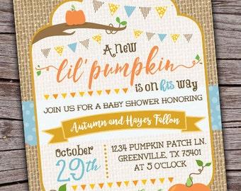 Pumpkin Baby Shower Invite/ Pumpkin Invitation/ Little Pumpkin Invitation/ Pumpkin Babyshower/ Fall Invite/ Fall Invitation/ Fall Babyshower