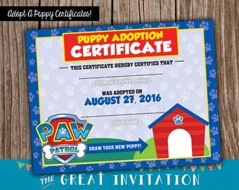 Paw Patrol Party / Paw Patrol Invite/ Puppy Adoption Certificates / Paw Patrol Certificate / Adopt A Puppy Printable Certificate/ Paw Patrol