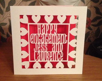 Engagement Card - Papercut - Personalised - Gay Engagement Card - Lesbian Engagement Card - Paper Cut - Personalized - Hearts - Stars