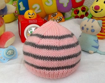 Baby Pink and gray baby Hat knitting baby birth gift