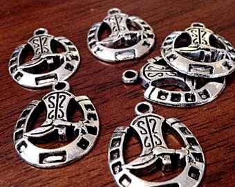 Western charms etsy bulk 20 silver horseshoe charms antique silver charms horse charms western charms aloadofball Choice Image