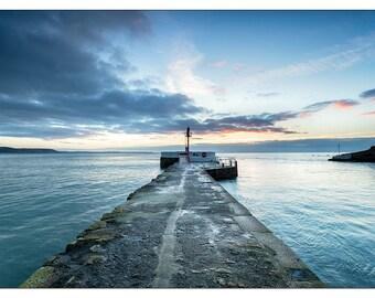 PS0233 Poster Print Dramatic sunrise Pier at Looe south coast Cornwell SEASCAPE