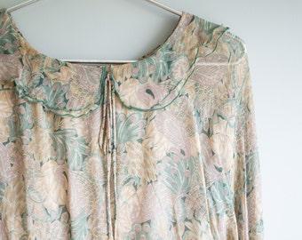 Sheer Ruffle Dress / Green Dress Size Medium / Women's Vintage Clothing