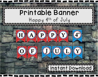 Printable 4th of July Banner - Fourth of July Sign - instant download