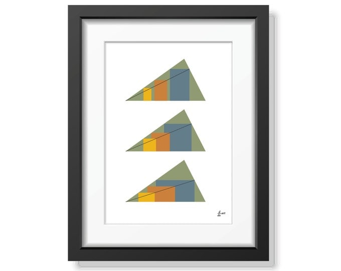 Rectangles in Triangles 03 [mathematical abstract art print, unframed] A4/A3 sizes