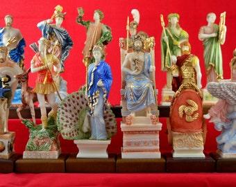 12 Olympian gods Set Statues, Greek Pantheon Patina Colour NEW