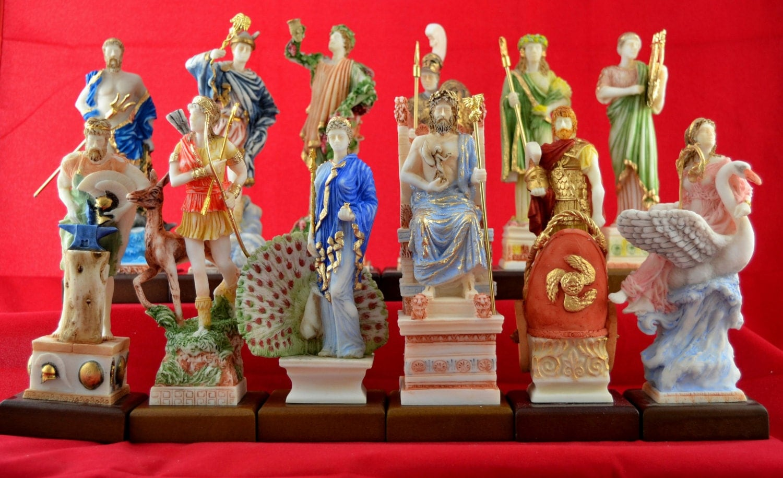 12 olympian gods set statues greek pantheon patina colour new
