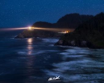 Midnight Torch, lighthouse, haceta head lighthouse, haceta lighthouse, stars, seascape, photograph, wall art, oregon