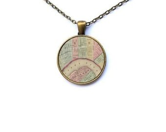 New Orleans Necklace - Gifts for Her Old New Orleans Map Necklace NOLA Necklace NOLA Map Necklace Vintage New Orleans Map Necklace NOLA