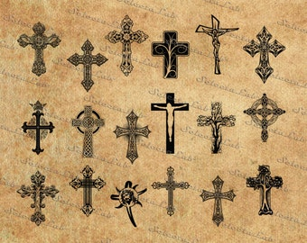 Digital SVG PNG cross vector, jesus christ,  religious symbols, silhouette, clipart, instant download