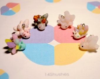 Crystal Snail Polymer Clay Charms