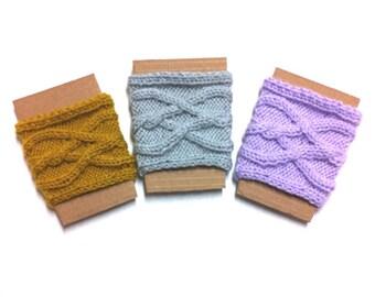 Knit Coffee Sleeve, Handmade Mug Cozy, Heather Gray Knitted Coffee Cozy, Travel Mug Sleeve