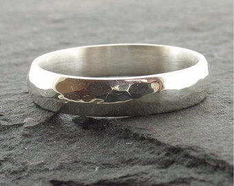 Hammered wedding ring 4mm wide Pebble design in silver