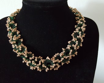 Green and Gold Handmade Beaded Necklace