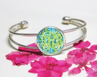 Green Lilly Pulitzer Momonogram Cuff Bracelet,Initial Bracelet Jewelry,Personalized Monogram Bracelet Jewelry,Wedding Gift,Silver Bracelet