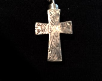 Vintage Sterling Etched Cross Necklace