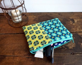 Medium Flat Make Up Bag, Zipper Pouch, Travel Bag, Navy, Aqua and Lime Tile Flowers