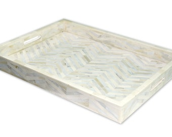 Bone Inlay And Mother Of Pearl Inlay Zig Zag Hand Made  Tray