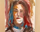 "Red Blue Woman, Original Oil on Paper, an artists sketch, 15"" x 20"" with the matt"