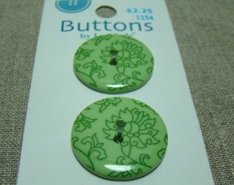 Green Flower Buttons by LaMode - Two Hole - Sew Through